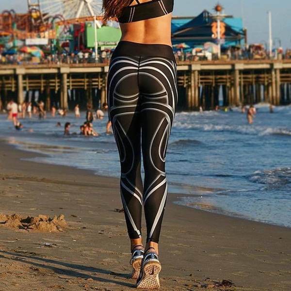 Black White Fitness Printing Yoga Leggings Women Striped Legings Skinny Workout Sweatpants female sport tight pants plus size #157254