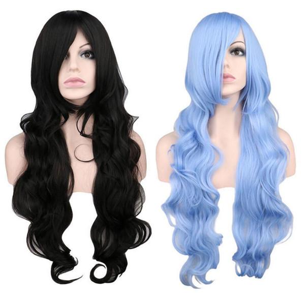 80cm Lange Lolita Synthetische Perücke Frauen Lockige Hellblaue Schwarze Haar Perücke Cosplay perücke