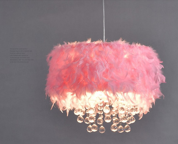 Nordic Modern Color Feather Chandelier Girl Bedroom Princess Room  Children\'S Room Lamp Creative Pink LED Crystal Chandelier LLFA Wrought Iron  ...