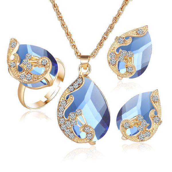 3 Set Collar de diamantes Conjunto Oro verdadero Plateado Collar de cristal Gotas de agua Colgante de pavo real Pendientes para mujeres Anillos 5 colores