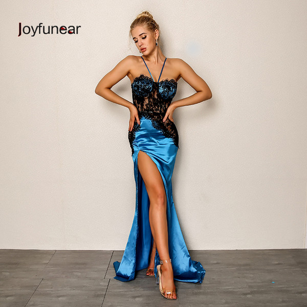Joyfunear 2019 New Women Sexy Party Dress Summer Bodycon Side Split Maxi Dress Floral Embroid Elegant Long Dresses Vestido Blue Y19051001