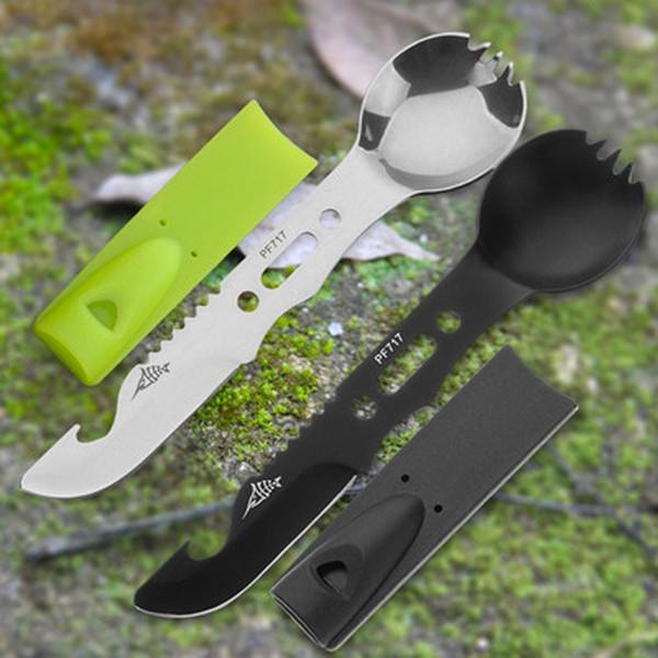 8-in-1 Multi-purpose Stainless Steel Spork Survival Camping Fork Spoon Black