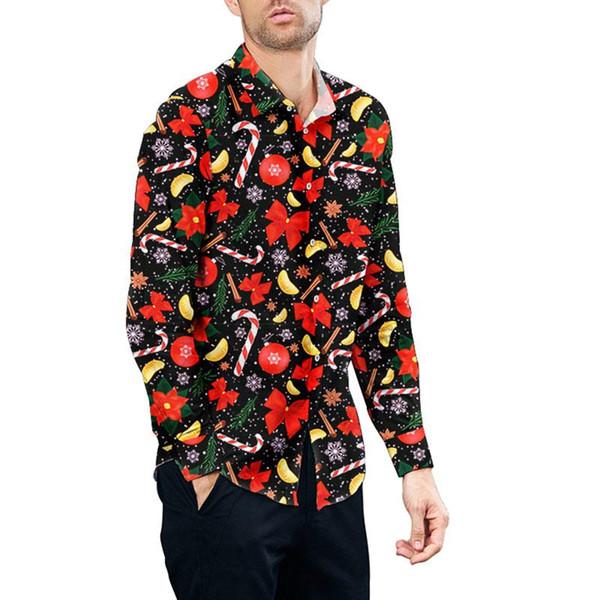 Christmas Snowflake Walking Stick Print Shirt Men And Women Casual Loose Long Sleeve Shirts Men And Female Dress Shirts