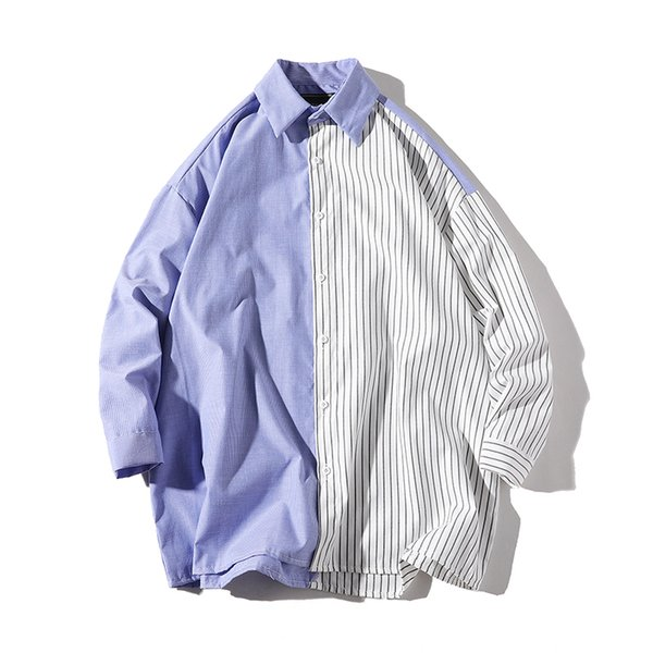 Spring New Dress Shirt Men's Fashion Striped Stitching Casual Shirt Man Streetwear Loose Long-sleeved Male Clothes S-3XL