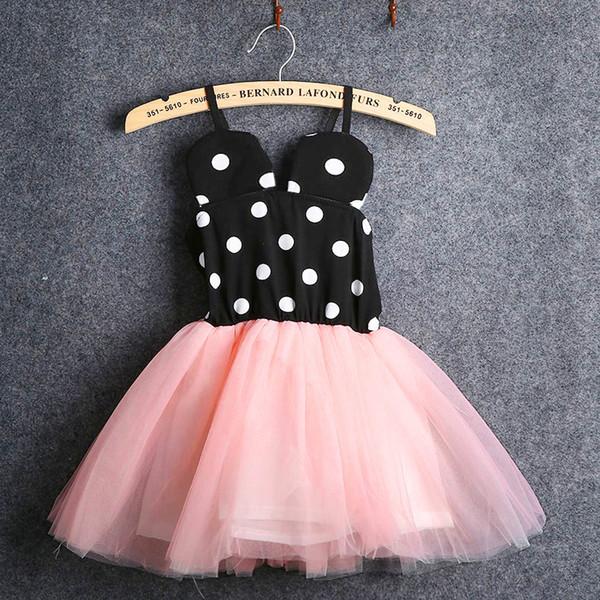 Miúdos do verão Meninas Princesa Dot Rosa Tutu Vestidos Kid Baby Girl Partido Pageant Lace Tulle Vestido Crianças Roupas