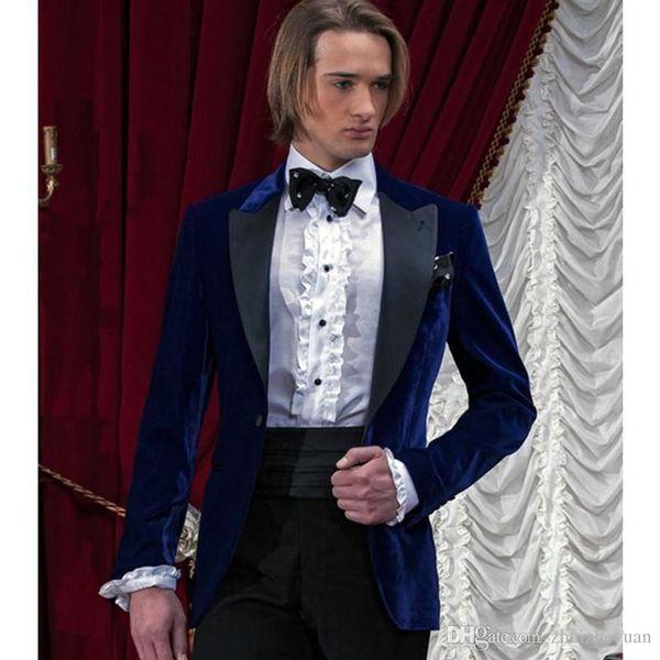 Fashionable Blue Velvet Groom Tuxedos Custom Made Best Groomsmen Suit Mens Wedding Suits Slim Fit Prom Party Suits (Jacket+Pants+Tie)