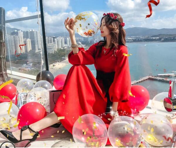 Lanterne manches robe 2019 nouvelles femmes au début du printemps robe version coréenne de jupe robe rouge à manches longues