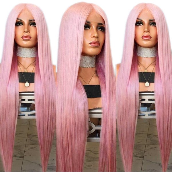 Free Shipping Natural Silky Straight Hair Pink Wig Middle Part Synthetic Lace Front Wig for White Women 26 Inches Glueless Cosplay Daily Wig
