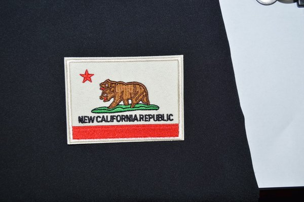 (Size: about 3.6 * 2.5 inch)~ CALIFORNIA STATE FLAG IRON ON PATCH Republic Bear Embroidered Applique Biker