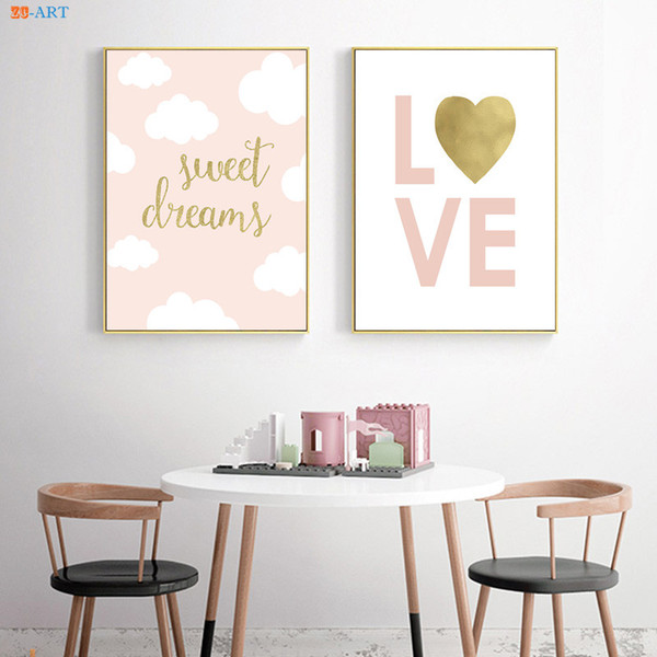 Pink Love Gold Foil Canvas Art Poster and Print Painting Nursery Wall Art Kids Room Decor Baby Girl Room Home Decoration