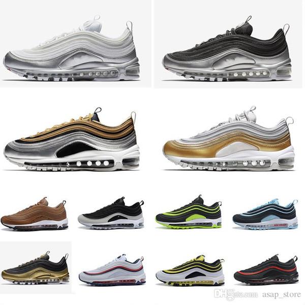 0e257351d8 2018 97 men Running Shoes Black metallic gold silver BLACK WHITE GOLD 97s  mens trainers muti