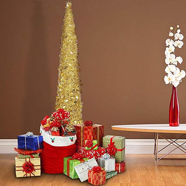 Рождественские елки моделирования блестящие листья зеленые с отражающими блестками складные многоразовые зеленые мишуры для украшения