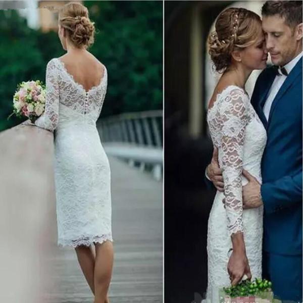 Summer 2019 Short Wedding Dresses Long Sleeve Knee Length Simple White Ivory Short Sheath Bohemian Wedding Dresses