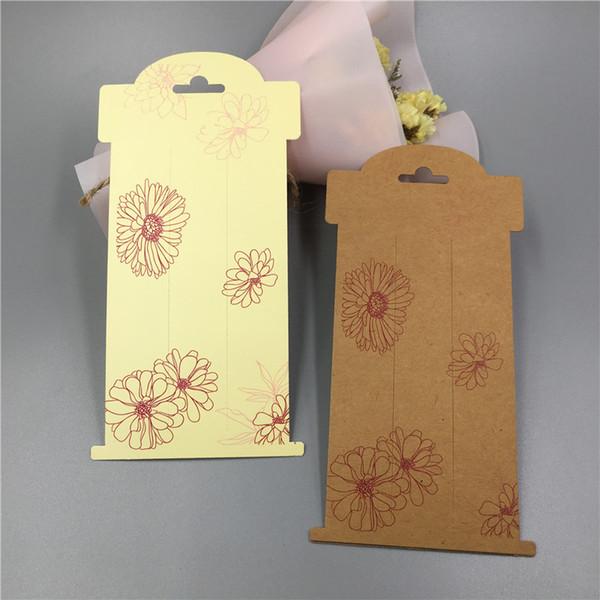 Envío gratis 16 * 8 cm joyería WhiteKraft amarillo papel tarjetas joyería pinza de pelo accesorios tarjetas aceptar logotipo personalizado