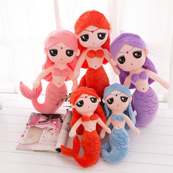 Bonito sereia princesa boneca de brinquedo de pelúcia menina travesseiro para crianças tridimensionais confortável e macio crianças brinquedos