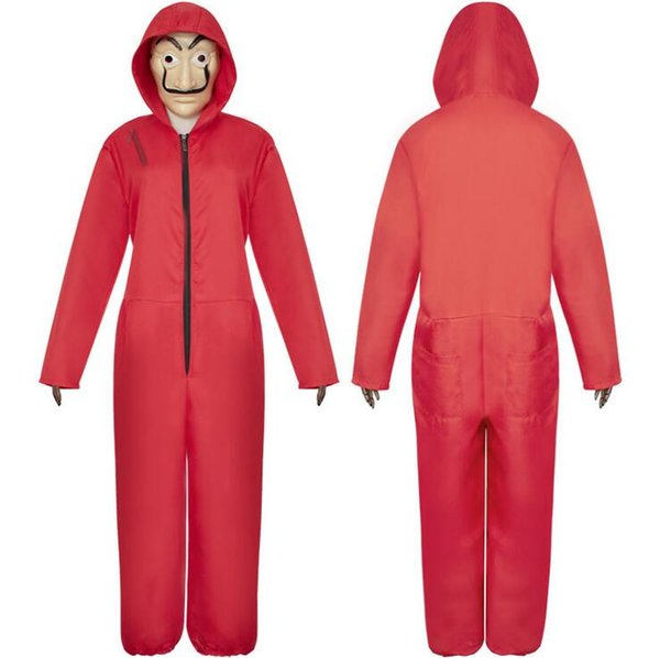 Cosplay Costume Red Jumpsuit And Mask - Halloween Party Dali Performance Costume Clothes For Adult Men Women Children Kids