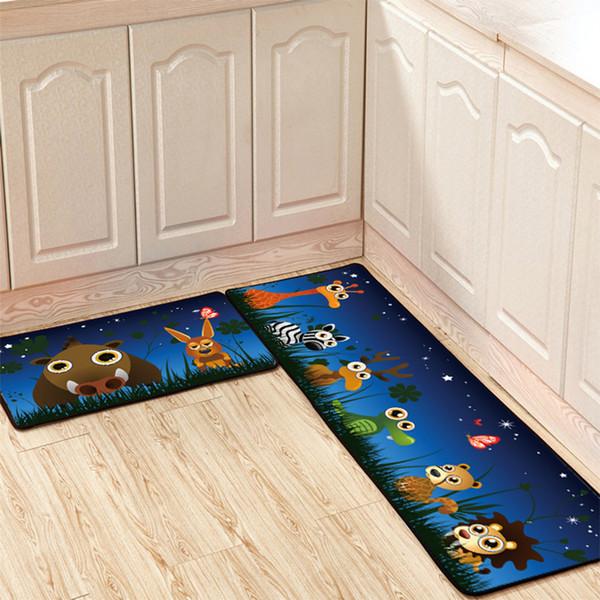 Conjunto de 2 unids Estera del piso de la cocina de dibujos animados Tira larga antideslizante A prueba de aceite Absorbente Estera del pie Felpudo Cuarto de baño Dormitorio Alfombra junto a la cama