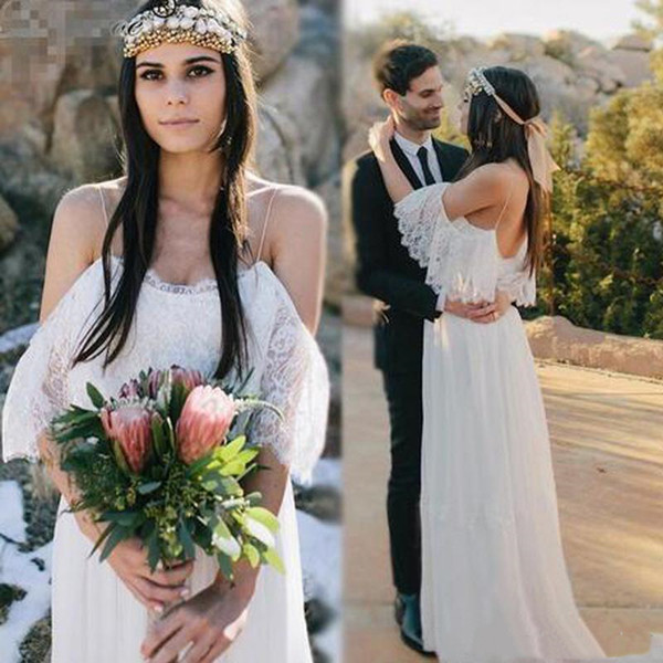 Sexy Straps Country Wedding Dresses Drop Sleeve New 2019 Top Lace Cheap Chiffon Beach Boho Bridal Gowns High Waist Bride Dress Plus Size
