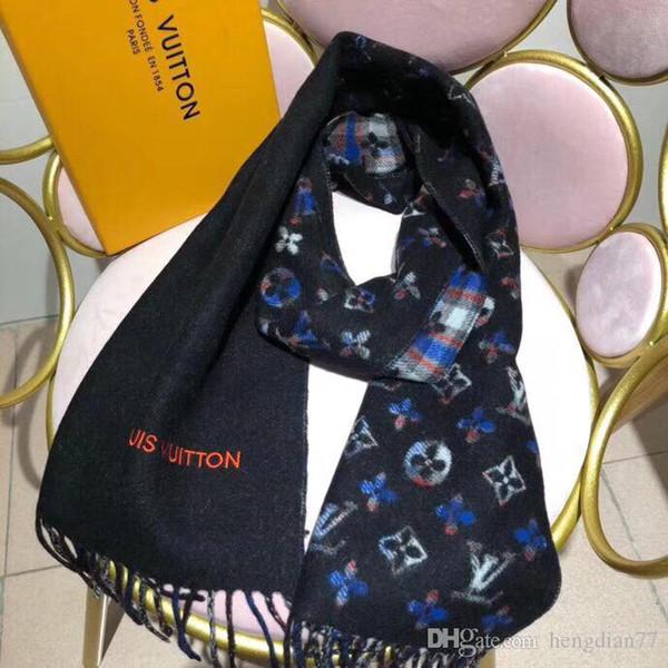 Высокое качество кашемира женщин Мода шарф Марка шейный 180x70cm Winter письмо кашемир дизайн бренда Теплые шарфы Мягкая шаль Wrap