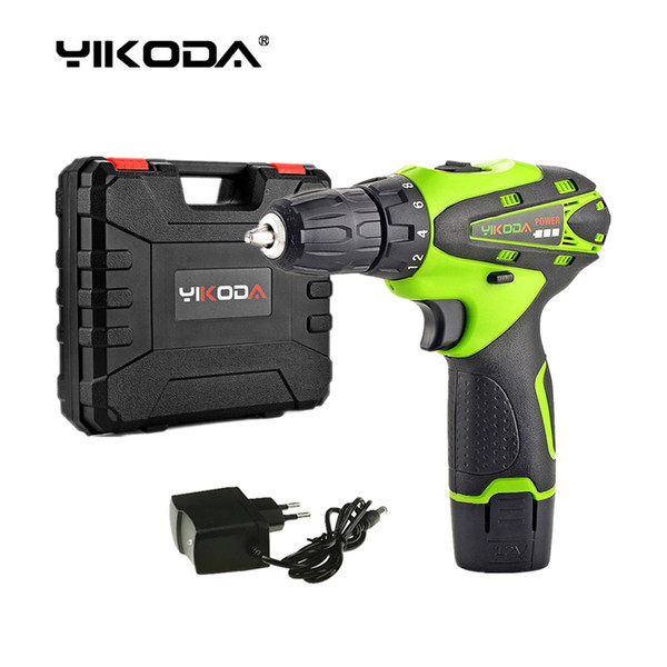top popular 12V Household Cordless Screwdriver Mini Hand Electric Drill Lithium Multi-function Power Tools One Battery Plastic Case 2021
