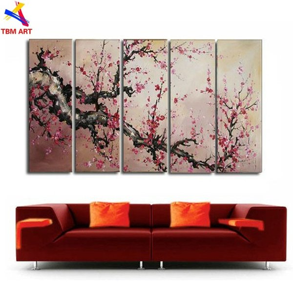 The Plum Blossom Canvas Painting Handmade Modern Abstract Oil Painting on Canvas Chinese Flower Oil Painting No Framed JYJLV196