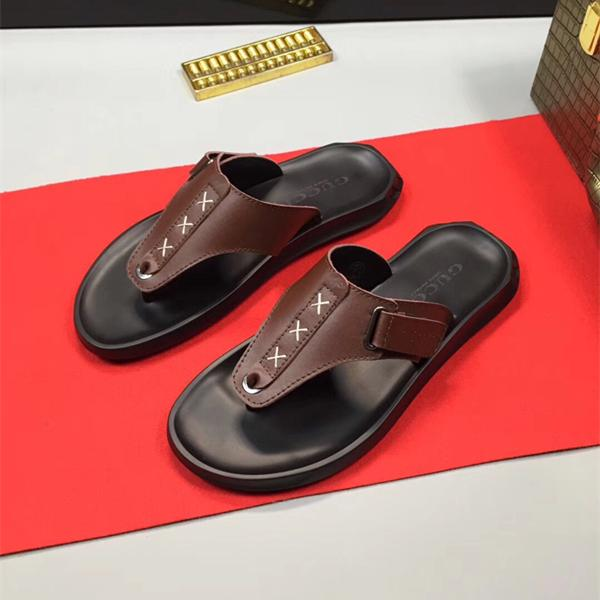 Brand Men Slippers High Quality Genuine Leather Male Slippers Handmade Sewing Flip Flops Beach Shoes Fashion Sandals