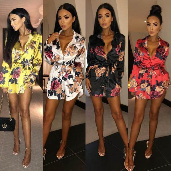 Çiçek Baskı Bağbozumu Gömlek Elbise Kadın Bahar Kısın Yaka Tam Kollu Yenilik Mini Elbise Yay Kanat Düğmesi Kısa VestidoK8570