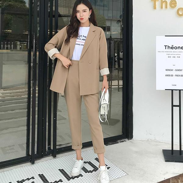 Solide Mid-Klagen Frauen Hose beiläufige Kerb Khaki Kragen Blazer Jacke Bleistift Hose Weiblichen Anzug Herbst 2019 High Quality