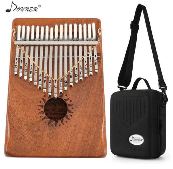top popular 17 Keys Kalimba Mbira Thumb Piano Mini Keyboard Marimba Wood Musical Instrument Mahogany with Carrying Case Tuning Tool 2021