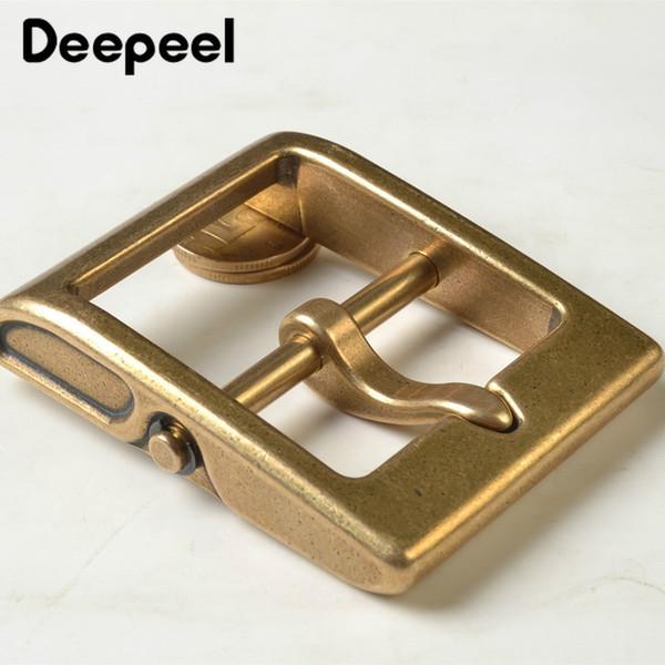Cabeza de hebilla de cinturón de metal de latón sólido de 40 mm de Deepeel para hebilla de pasador de metal de 38-39 mm Accesorios de jeans artesanales de cuero DIY