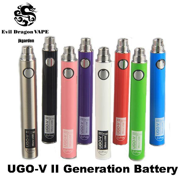 Autentico UGO V II 2 650 900mAh EVOD ego 510 Batteria micro USB Passthrough Charge con cavo USB vaporizzatori e cigs Batterie Vape