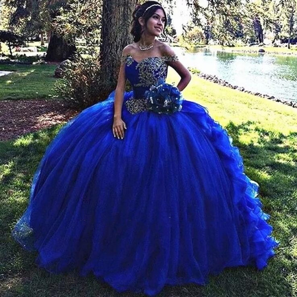Delicate Royal Blue Quinceanera Dresses Off-the-shoulder Embroidery Appliqued Sweet 16 Dresses Ball Gown Vestidos de 15 Anos