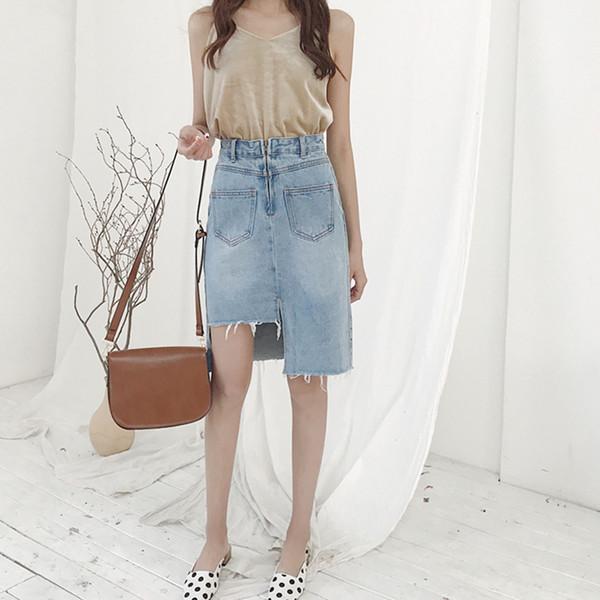 2019 New Style koreanische Version des unregelmäßigen Jeansrock Frau schlank Rock Sommer weibliche Mode Dame Knielänge