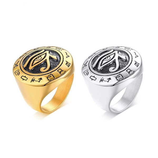 Egyptian Eye Of Horus Ring Stainless Steel Rhinestone-Paved Hip Hop Men Women Ring