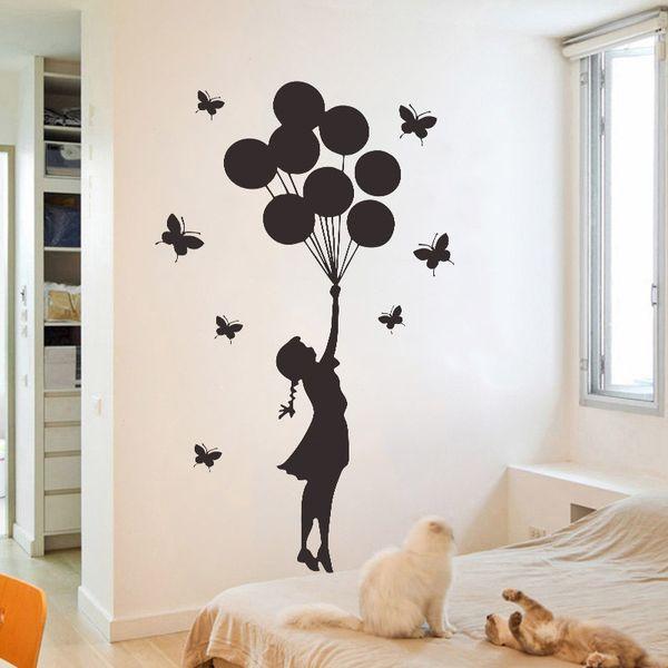 Cartoon Girl Balloon Butterflies Wall Sticker For Kids Baby Rooms Boys Girls Gifts Vinyl Wallpaper Bedroom Decoration Art Mural