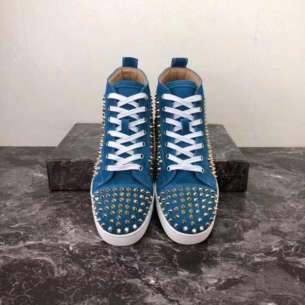 2019 grife Sneakers alta-Top de couro reais de camurça picos de ouro fundo plano Vermelho para homens e mulheres sapatilhas do desenhista Shoes