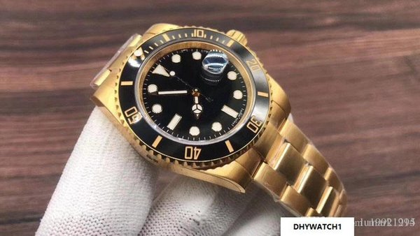2018 Rolse U1 Factory Submersible 116618LN Gold diving movement Watch sapphire Asia Original 2813 Precision stainless steel Ceramics watch