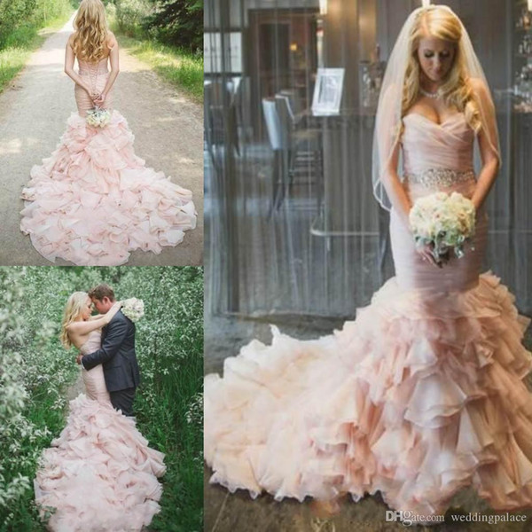 Custom Made Prom Dresses Mermaid Sweetheart Sweep Train Bridal Gowns With Crystal Sash Sleeveless Graceful Organza Party Evening Gowns
