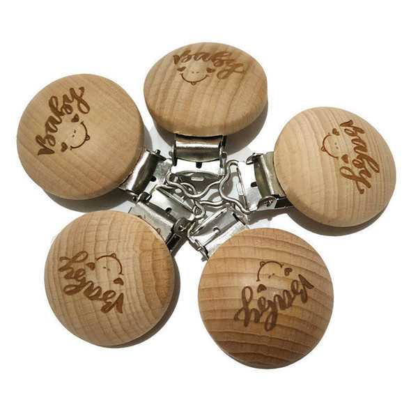 Natural Wood Beech Wood Pacifier Clip Unfinished Nontoxic Baby Nipple Holder DIY Infant Pacifier Clasps Holder Accessories