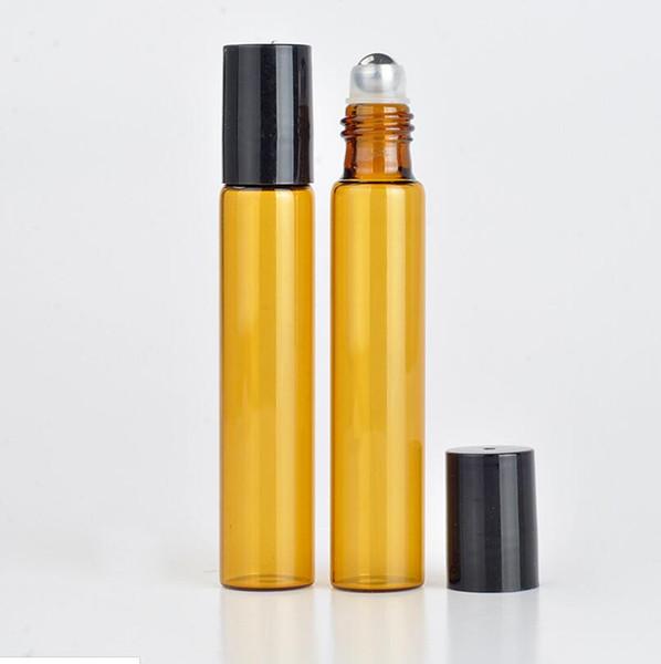 HOT vente 1200pcs / lot 10 ml rouleau de verre ambré sur la bouteille avec huiles essentielles en acier inoxydable Roller Ball bouteilles de parfum LX5835