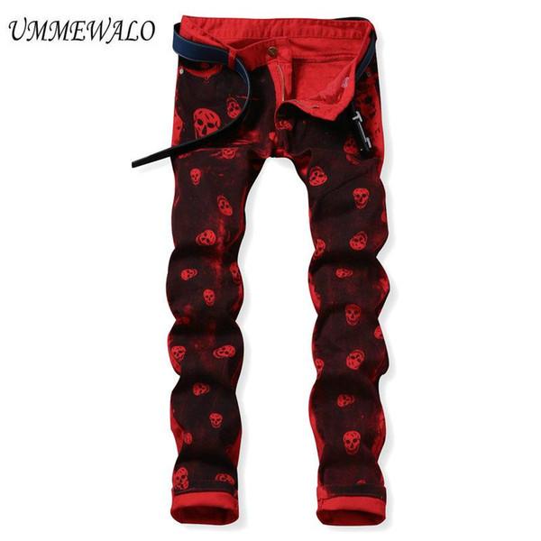 Vente en gros- UMMEWALO Skull Jeans Imprimé Pour Hommes Casual Slim Jeans Droite Designer Pantalon Rouge Hommes Marque Impression Pantalon Jeans Hombre