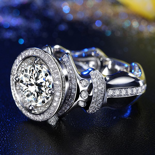 1 18k white gold moissanite diamond ring luxury t domineering diamonds men wedding party engagement anniversary ring vvs, Golden;silver