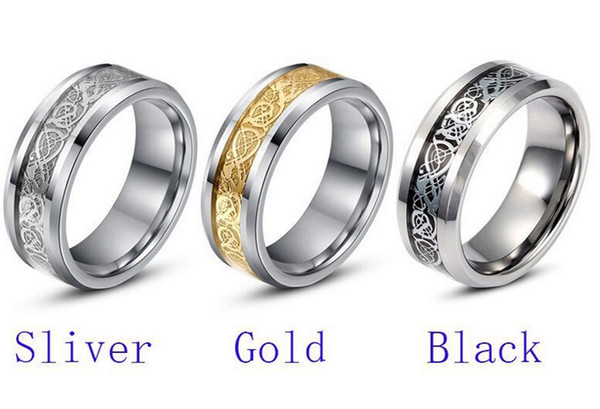 Titan Stahl Schmuck Großhandel Edelstahl Ring Ringe Silber Inlay Drachen K6009