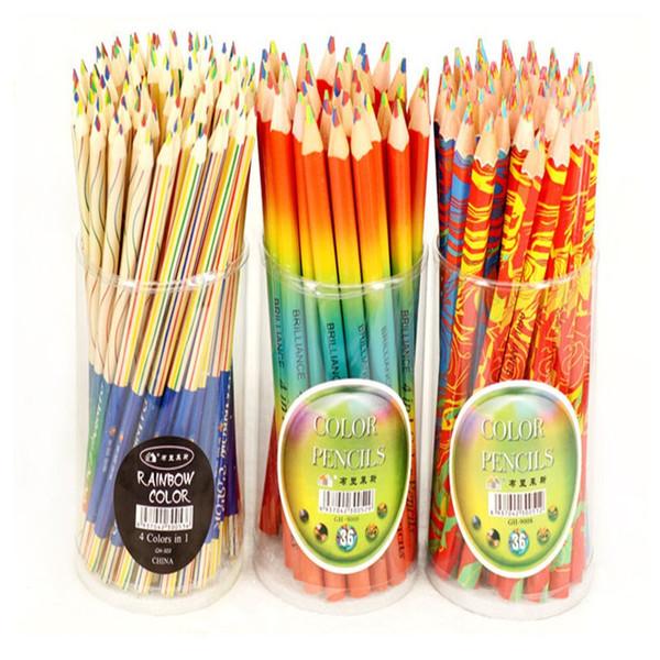 Rainbow Pencil Creative 4 colori in 1 matita a triangolo in legno colore matita penna scuola scuola cancelleria regalo