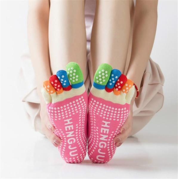 New Womens Fitness 5-punta cotone colorato Yoga palestra antiscivolo punti massaggio punta calzini sportivi Full Grip commerci all'ingrosso cinque dita calzini