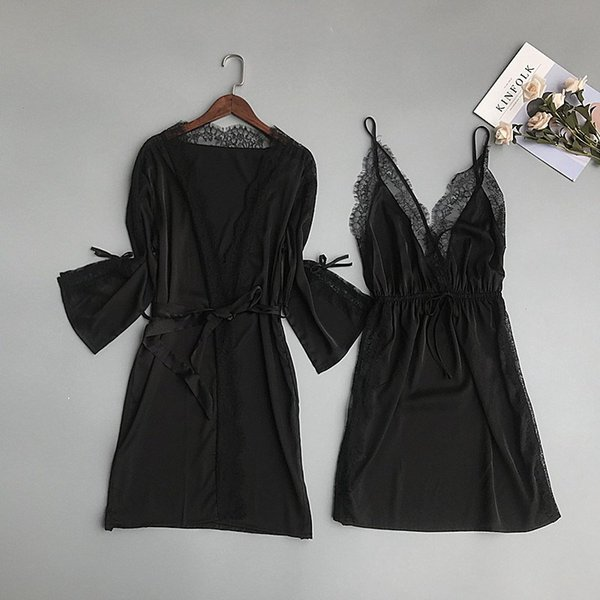 2019 Women V-Neck Lace Gown Sets 2019 New Long Top And Spaghetti Strap Blackless Dress Sexy Nightdress Female Robe Suits