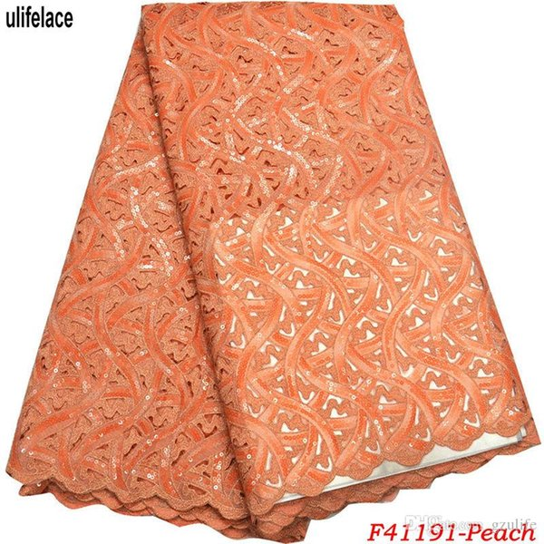 Africa Organza Lace fabric Newest High Quality Design Color Peach Sequins Nigerian French Net ace African Handcut Organza fabrics F4-1191