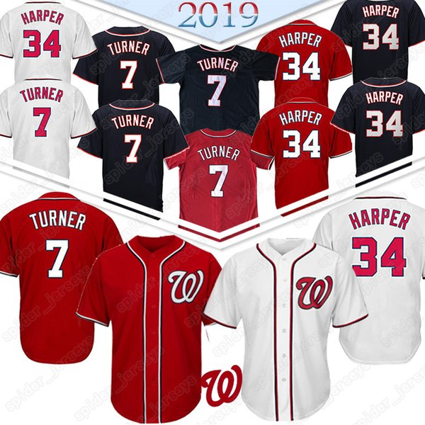 check out 09da4 8562a 2019 7 Trea Turner Washington Baseball Jerseys Nationals 34 Bryce Harper  Baseball Jersey Top Quality From Spider_jerseys, $22.26 | DHgate.Com