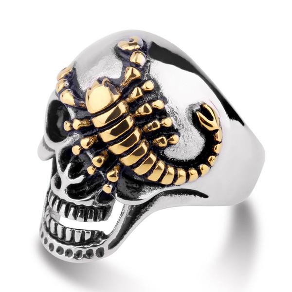European and American Punk Trendsetters Single Ring Jewelry Retro-domineering Golden Scorpion Skull Ring Titanium Steel Men's Ring