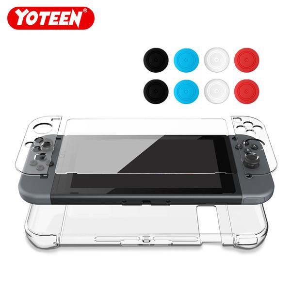 Yoteen 12 в 1 тонкий прозрачный кристальный чехол для Nintendo Switch с закаленным защитным стеклом и заглушками